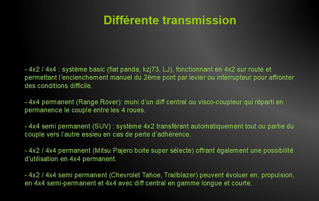 formation professionnelle pour les véhicules utilitaires en usage tout terrain, présentation des différents types de transmission