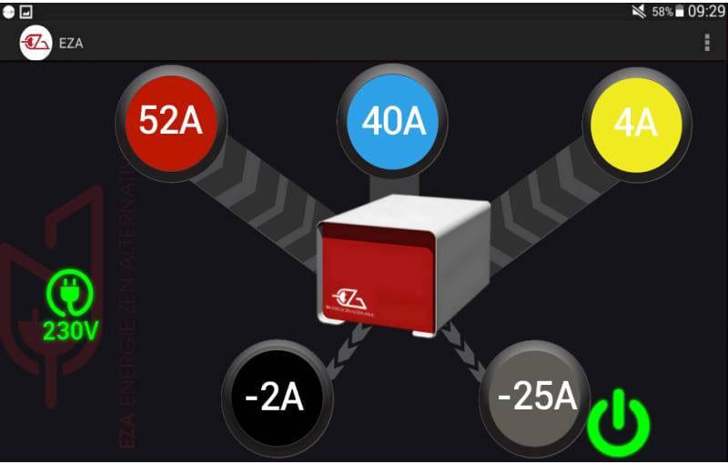 Les flux de la batterie EZA V2 avec son smartphone