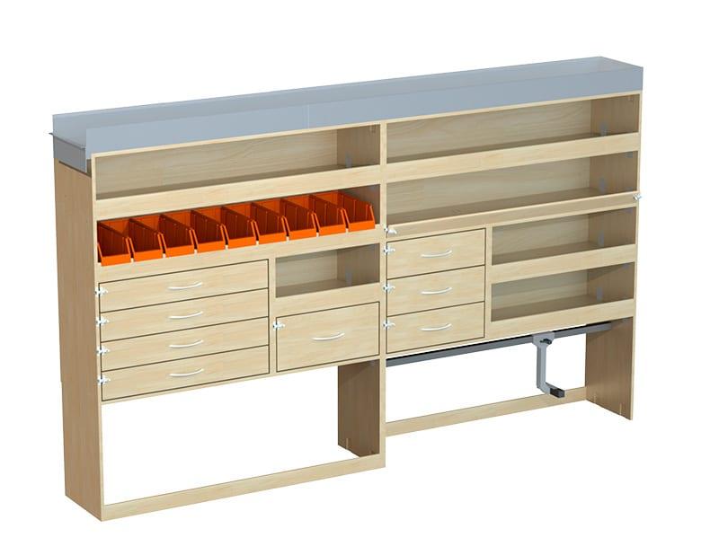 un meuble haut en partie gauche avec de nombreux rangements avec des bacs, des étagères, des tiroirs et en dessous de grand rangements dont un avec un accessoire qui permet de maintenir des valises de matériel électroportatifs.