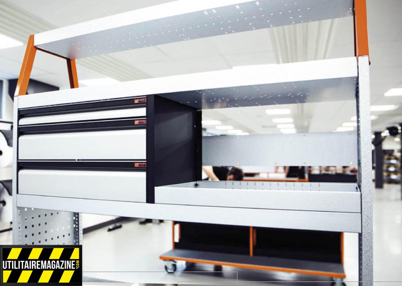 vue d'un meuble d'aménagement de fourgon Work System